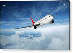 Airplane In Flight Acrylic Print by Aaron Foster