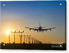 Airplane Landing At Sunset, Canada Acrylic Print by David Nunuk