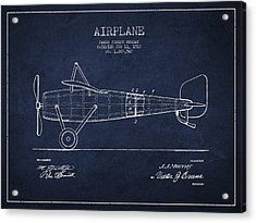Airplane Patent Drawing From 1918 Acrylic Print by Aged Pixel