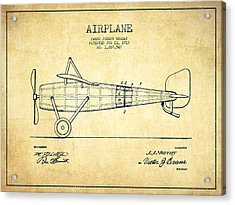 Airplane Patent Drawing From 1918 - Vintage Acrylic Print by Aged Pixel
