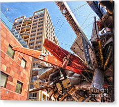 Airplane Wreckage Sculpture Outside Museum Of Contemporary Art - 02 Acrylic Print by Gregory Dyer