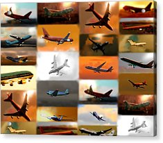 Airplanes Collage Acrylic Print by Marcello Cicchini