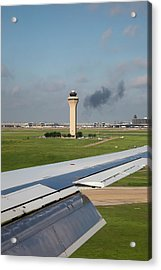 Airport Control Tower And Airplane Wing Acrylic Print