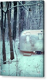 Airstream Trailer In Snowy Woods Acrylic Print by Jill Battaglia