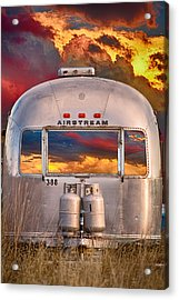 Airstream Travel Trailer Camping Sunset Window View Acrylic Print