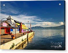 Acrylic Print featuring the photograph Ajijic Pier - Lake Chapala - Mexico by David Perry Lawrence