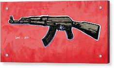 Ak - 47 Gun Pop Art Drawin Poster Acrylic Print by Kim Wang