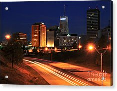 D1u-140 Akron Ohio Night Skyline Photo Acrylic Print