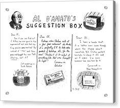 Al D'amato's Suggestion Box Acrylic Print by Roz Chast