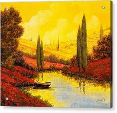 Al Tramonto Sul Torrente Acrylic Print by Guido Borelli