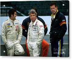 Al Unser Sr. Gordon Johncock And Bobby Unser Together At Indy Acrylic Print