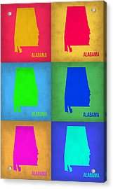 Alabama Pop Art Map 1 Acrylic Print by Naxart Studio