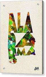 Alabama Typographic Watercolor Map Acrylic Print by Ayse Deniz