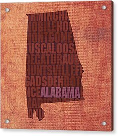 Alabama Word Art State Map On Canvas Acrylic Print by Design Turnpike
