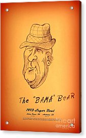 Alabama's Bear Bryant Acrylic Print by Greg Moores