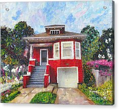 Colonial Revival High Basement Cottage 1907  Acrylic Print by Linda Weinstock