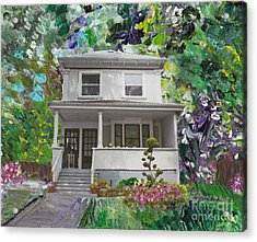 Acrylic Print featuring the painting Alameda 1933 Duplex - American Foursquare  by Linda Weinstock