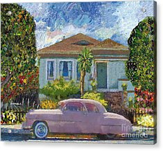 Alameda 1908 House 1950 Pink Dodge Acrylic Print by Linda Weinstock