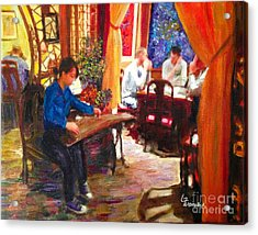 Acrylic Print featuring the painting Guzheng by Linda Weinstock