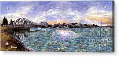 Acrylic Print featuring the painting Alameda High Street Bridge  by Linda Weinstock