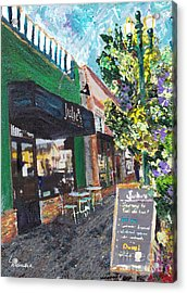Acrylic Print featuring the painting Alameda Julie's Coffee N Tea Garden by Linda Weinstock