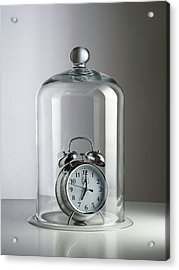 Alarm Clock Inside A Bell Jar Acrylic Print by Science Photo Library
