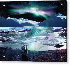 Alaska Aurora Knik Glacier Bear Acrylic Print by Dianne Roberson