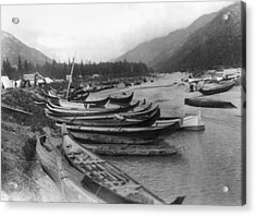 Acrylic Print featuring the photograph Alaska Canoes, C1897 by Granger