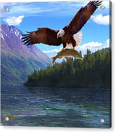 Acrylic Print featuring the painting Alaska Fly Fishing by Doug Kreuger