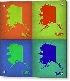Alaska Pop Art Map 1 Acrylic Print by Naxart Studio