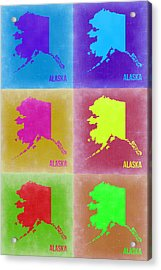 Alaska Pop Art Map 2 Acrylic Print by Naxart Studio