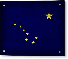 Alaska State Flag Art On Worn Canvas Acrylic Print by Design Turnpike