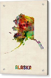 Alaska Watercolor Map Acrylic Print by Michael Tompsett