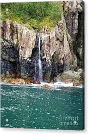 Alaskan Waterfall In The Spring Acrylic Print