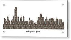 Albany New York 3d Stone Wall Skyline Acrylic Print