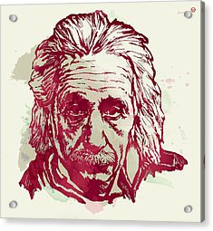Albert Einstei - Pop Stylised Art Sketch Poster Acrylic Print