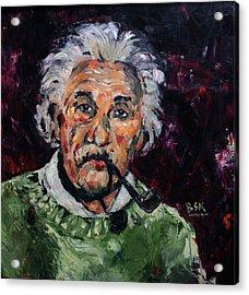 Albert Einstein Acrylic Print by Becky Kim