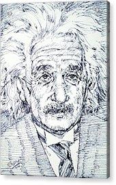 Albert Einstein - Drawing Portrait Acrylic Print by Fabrizio Cassetta