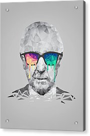 Albert Hofmann - Psychedelic Polygon Crystalised Portrait Acrylic Print by Philipp Rietz