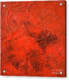 Alchemy In Red - Red Abstract By Chakramoon Acrylic Print by Belinda Capol