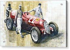 Alfa Romeo 12c-36 Tazio Nuvolari Coppa Ciano Race 1937 Acrylic Print by Yuriy  Shevchuk
