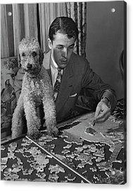 Alfred Gwynne Vanderbilt Completing A Puzzle Acrylic Print