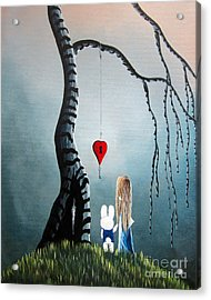 Alice In Wonderland Original Artwork - Alice And The Enchanted Key Acrylic Print by Shawna Erback