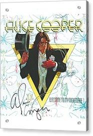 Alice Cooper Original Signature On Welcome To My Nightmare Album Artwork. Acrylic Print