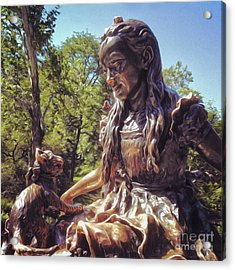 Alice In Wonderland Statue In New York City Central Park Acrylic Print