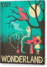 Alice In Wonderland Travel Poster - Vintage Version Acrylic Print by Jazzberry Blue