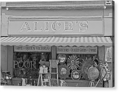 Alice's Antiques In Black And White Acrylic Print by Georgia Fowler