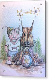Acrylic Print featuring the painting Alien Boy And His Best Friend by R Muirhead Art