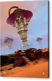Alien City Acrylic Print by Victor Habbick Visions