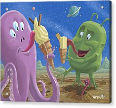 Alien Ice Cream Acrylic Print by Martin Davey
